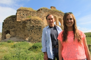Chris Bohjalian and Sarah Aghjayan in the ruins of the Palu church