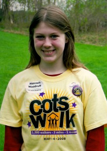 Hannah Woodruff has been volunteering for COTS since she was in middle school. Here she is in her COTS Walk t-shirt in 2008